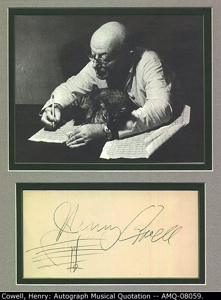 Cowell, Henry - Ensemble With Autograph Musical Quotation - (675)