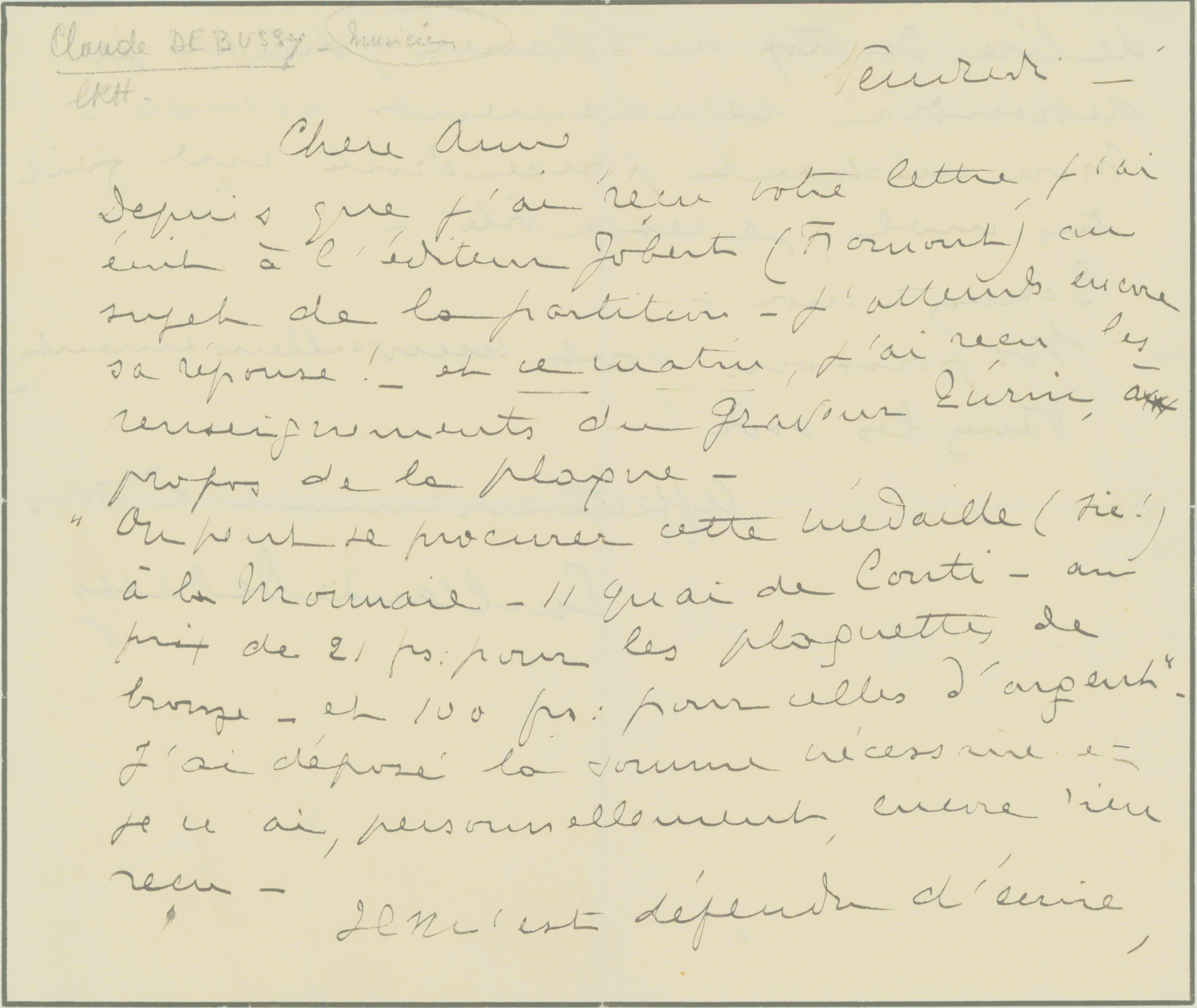 Debussy, Claude - Letter Written For Him During Illness - (6844)