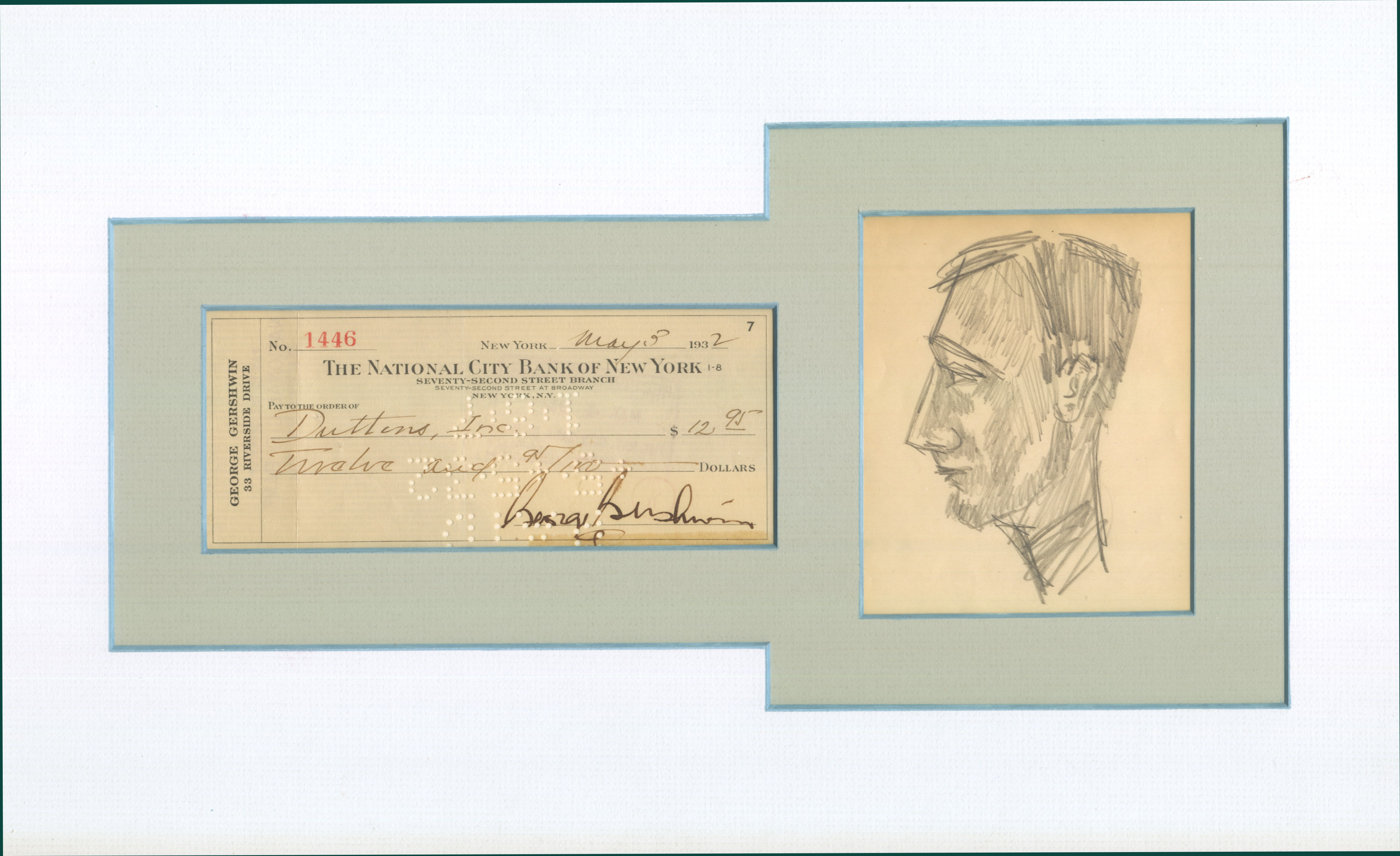 Gershwin, George - Ensemble With Autographed Check And Drawing. - (1758)