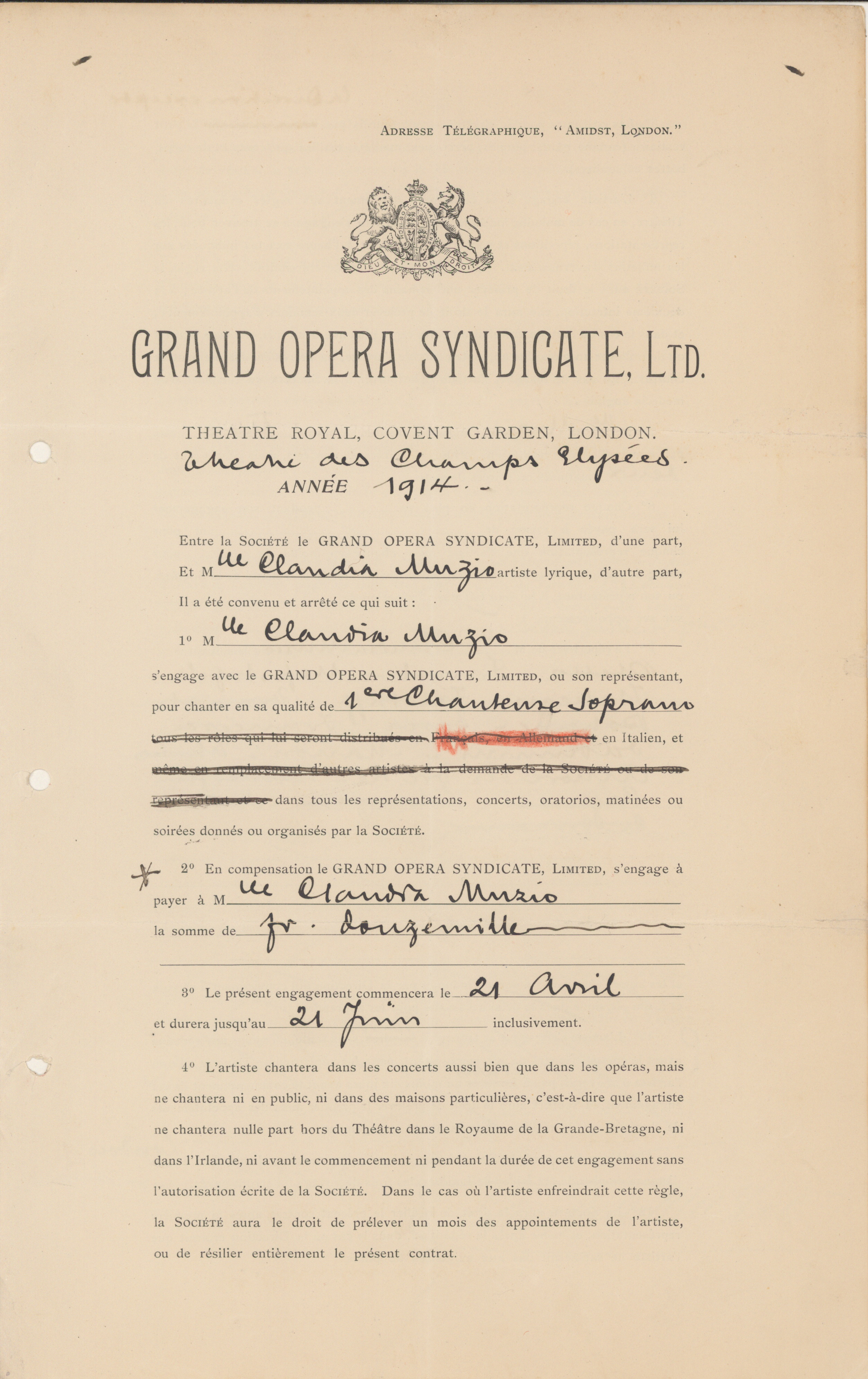 Muzio, Claudia - Contract With Grand Opera Syndicate, LTD. - (1820)