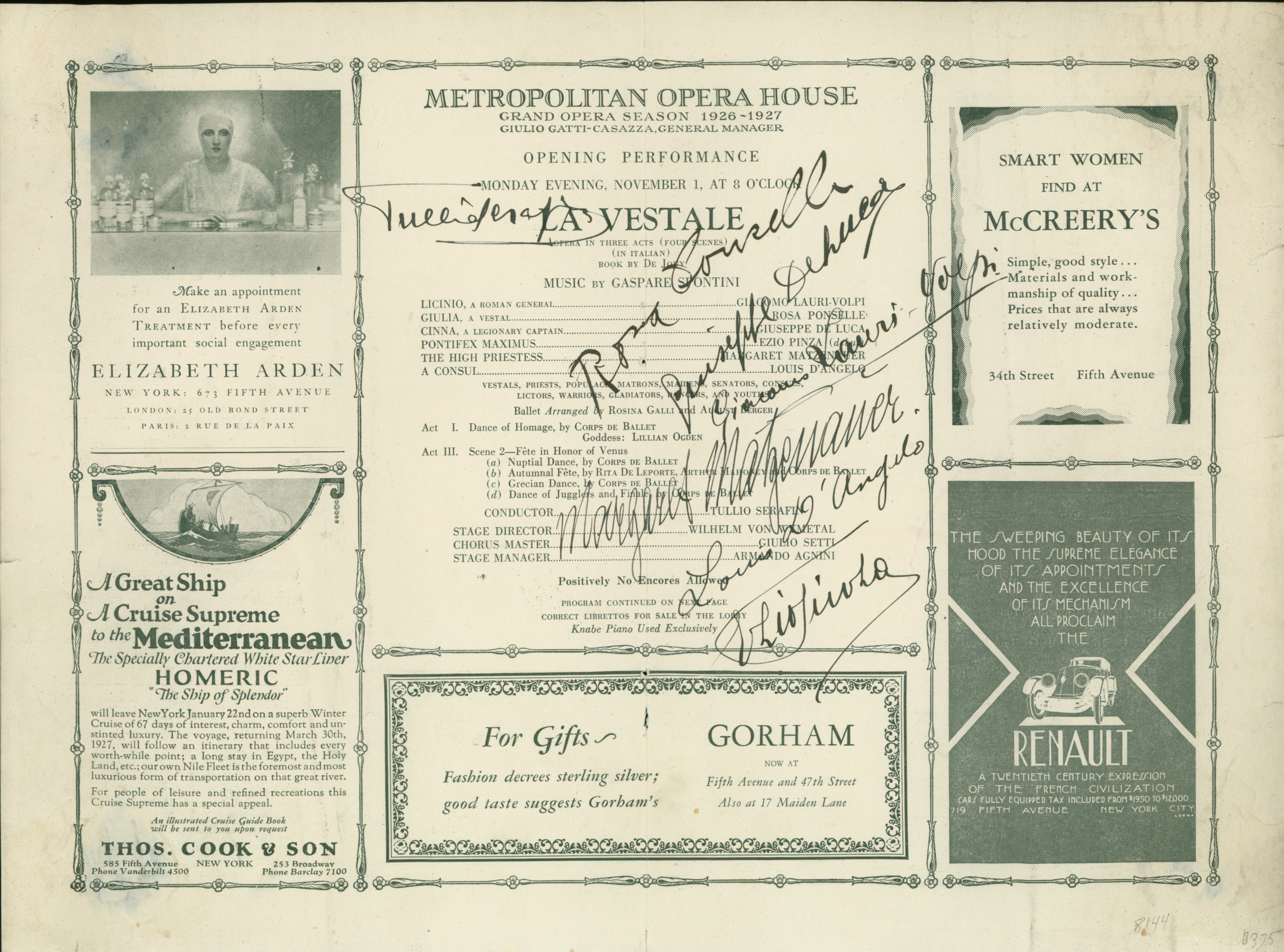 Metropolitan Opera Signed 1926 Program Of Spontini's La Vestale - Signed By The Entire Cast... - (2415)