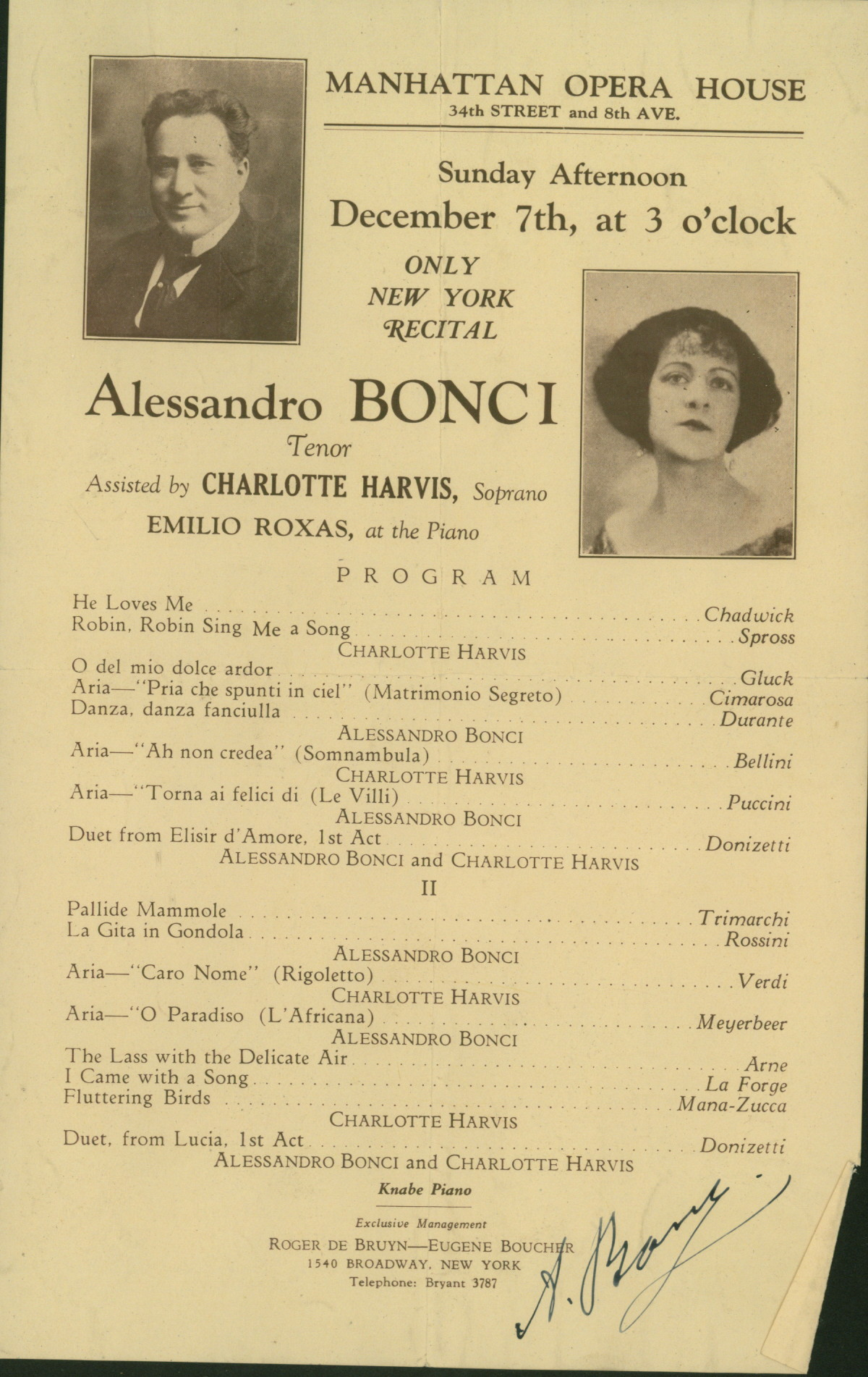 Metropolitan Opera Signed 1925 Program Of Falstaff Signed By Tibbett - Bonci Recital On Verso. - (2404)
