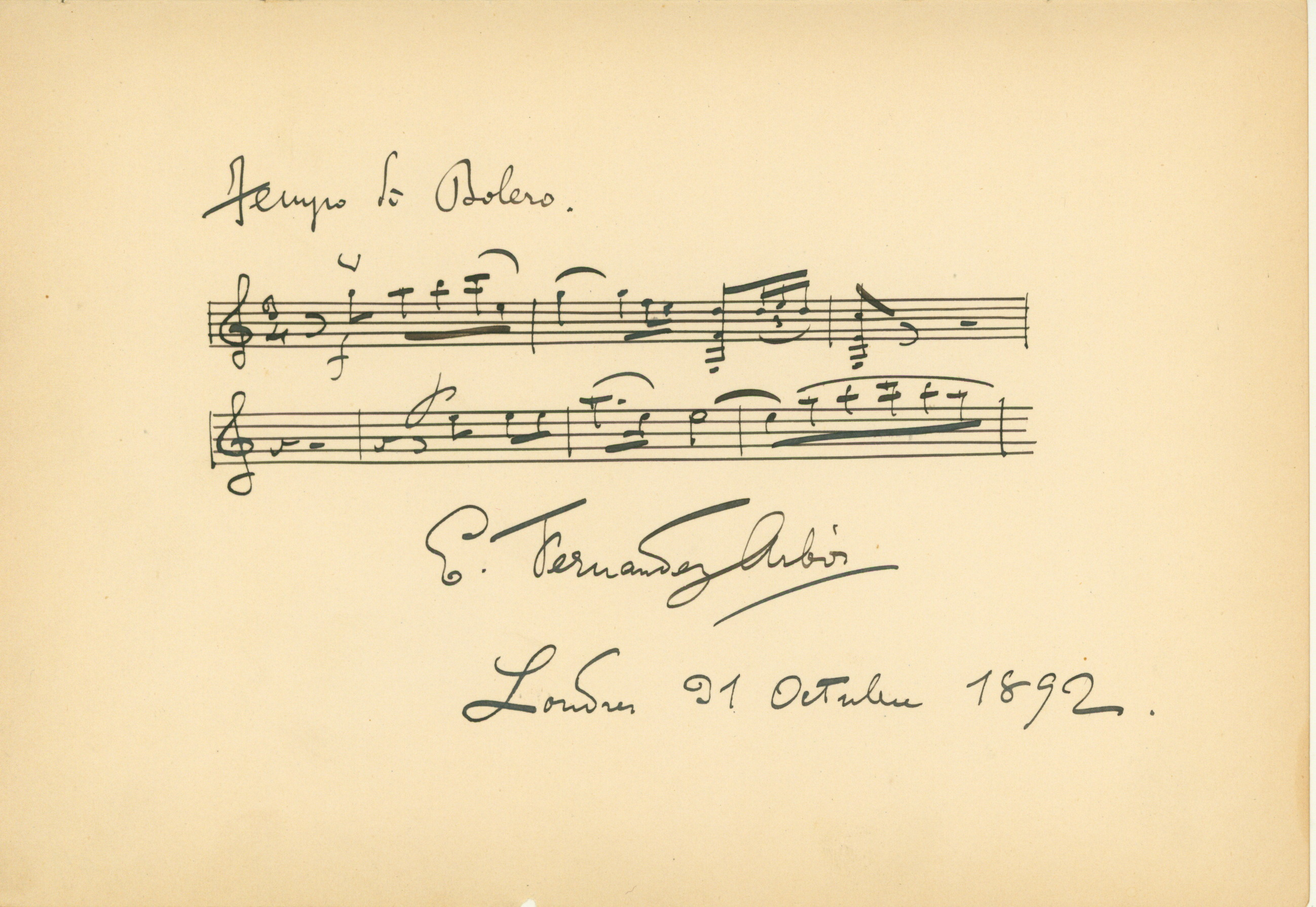 Arbós, Enrique Fernández - Autograph Musical Quotation - (4209)