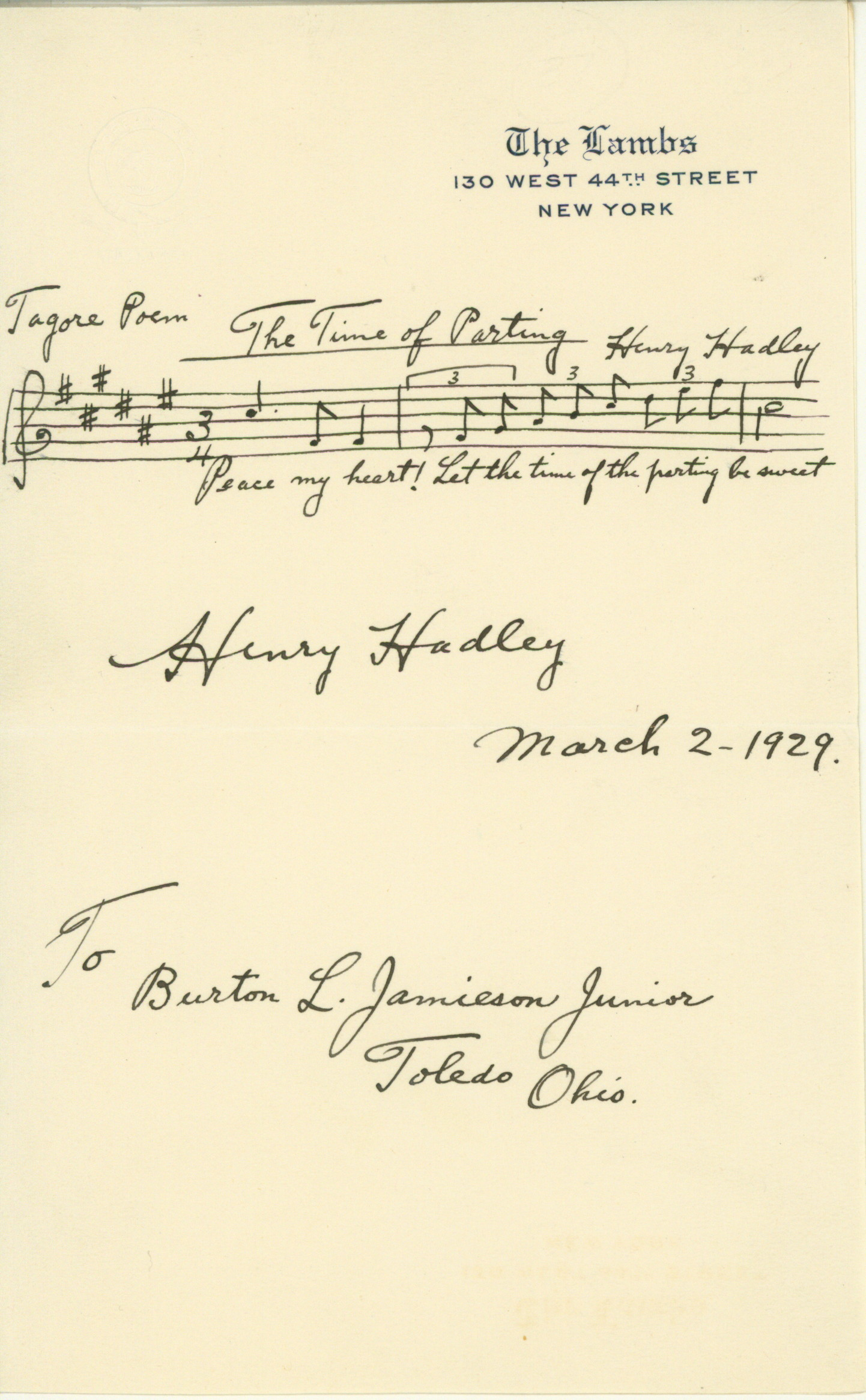 Hadley, Henry - Autograph Musical Quotation Signed - (5922)
