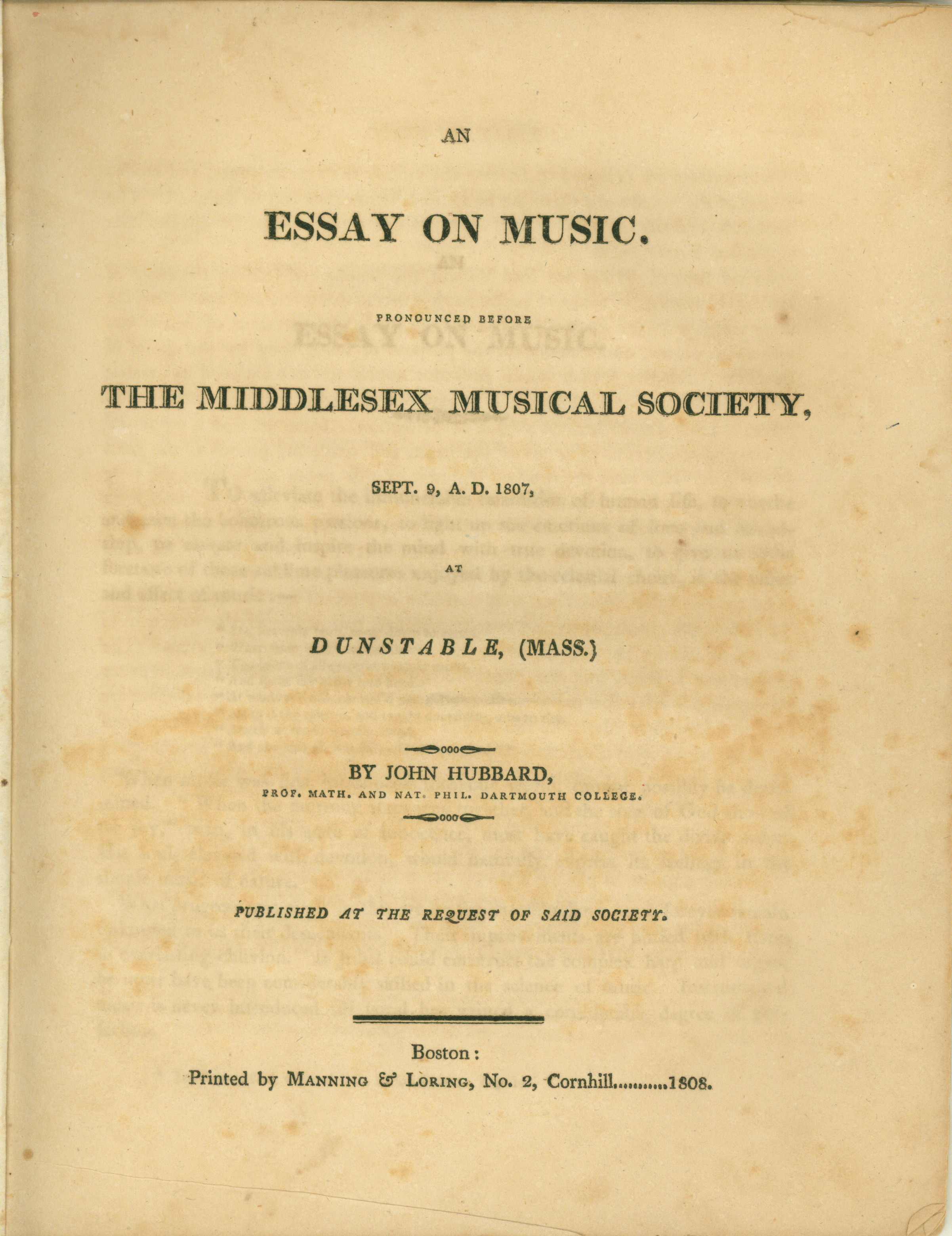 Hubbard, John - An Essay On Music. Pronounced Before The Middlesex Musical Society On Sept... - (4227)