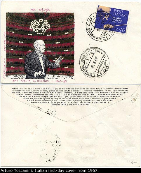 Toscanini First Day Cover - Italian First-day Cover Issued In 1967 For The Great Conductor's... - (1054)