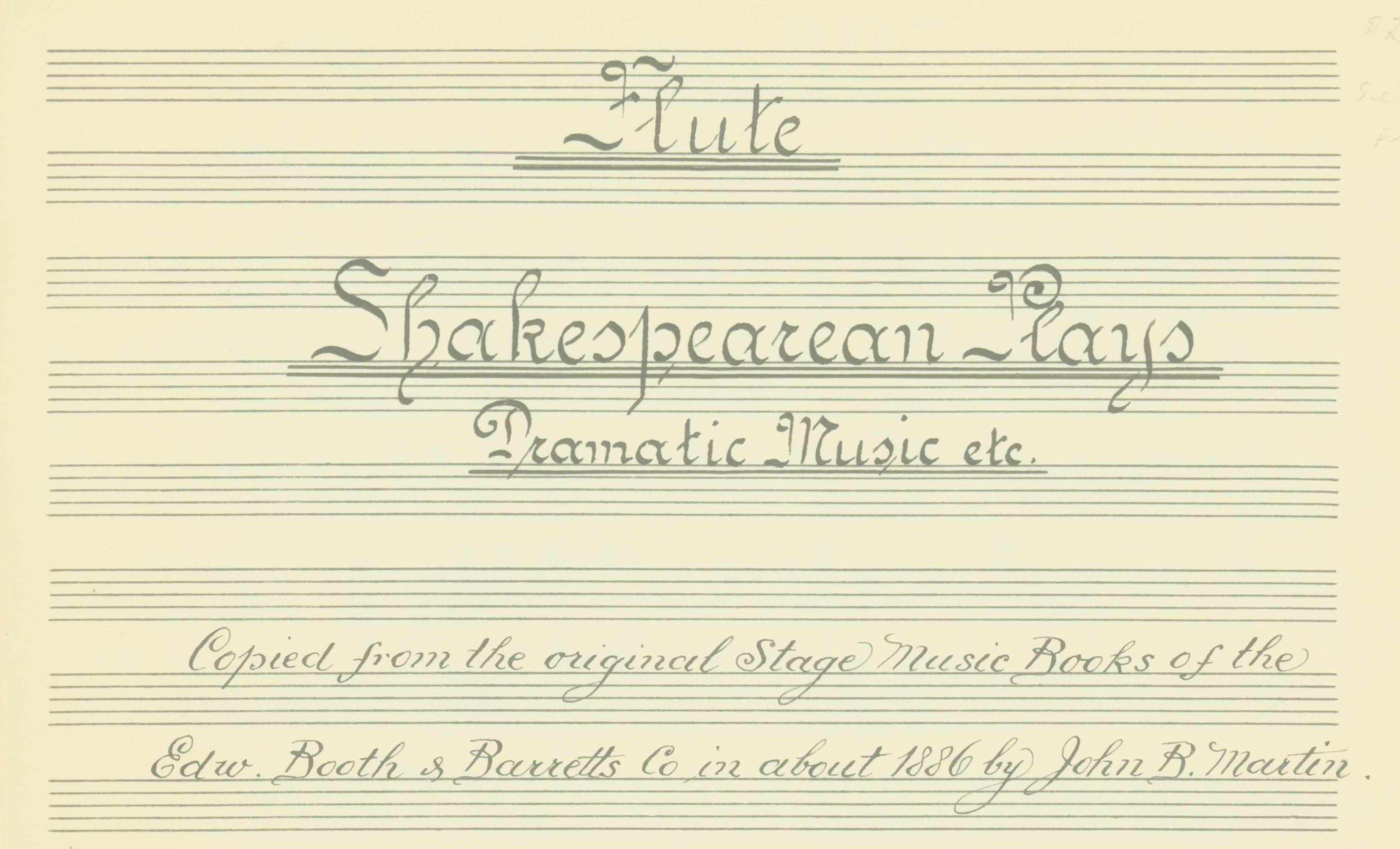 Shakespeare - Incidental Music For Plays - Shakespearean Plays. Dramatic Music Etc. Flute... - (7000)