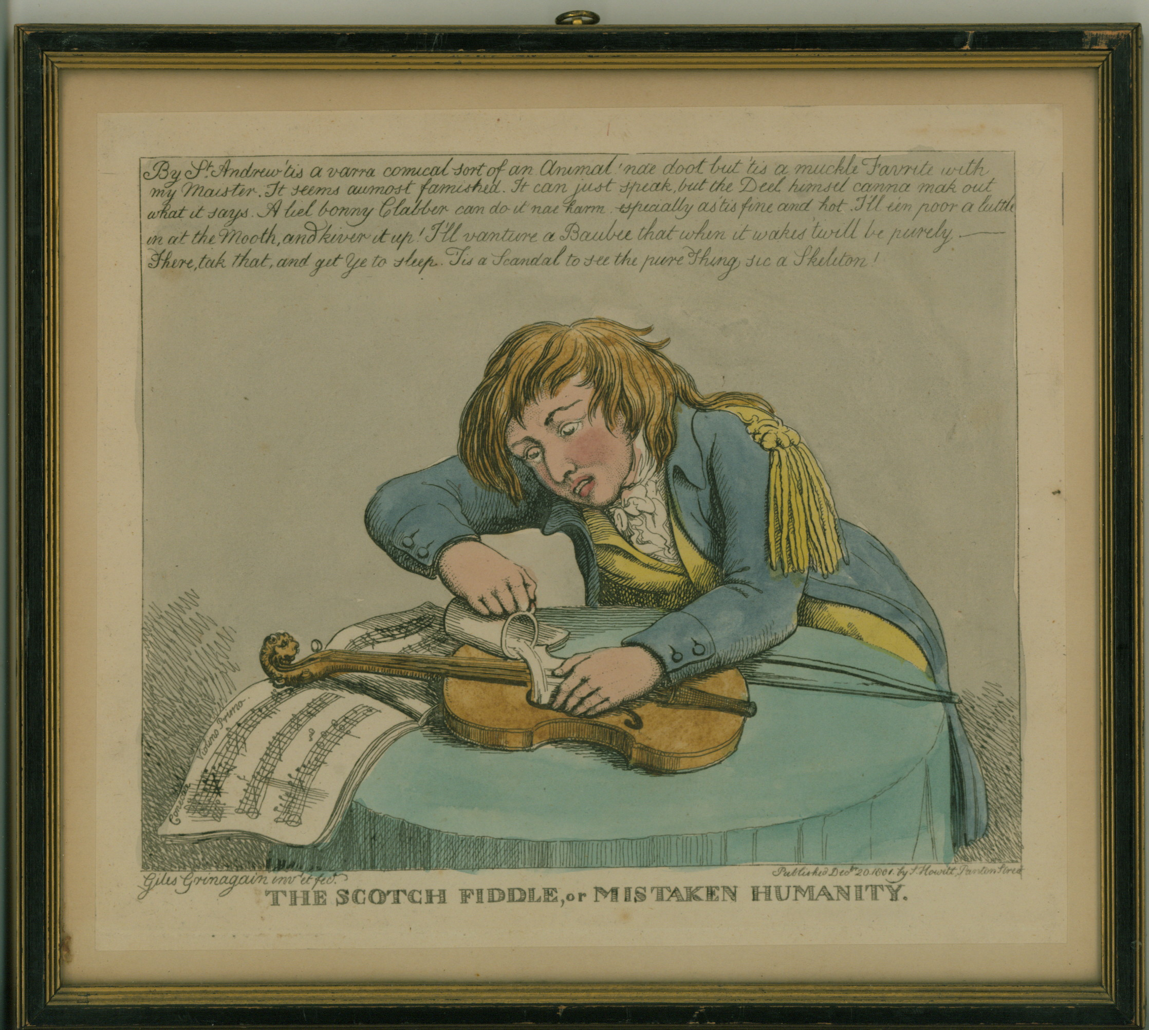 "Violin - English Caricature - ""The Scotch Fiddle Or Mistaken Humanity"". - (3713)"