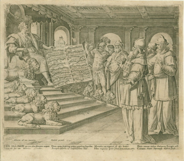 Sadeler The Elder, Jan - Engraving Of King Solomon, With Picture-motet. - (5119)