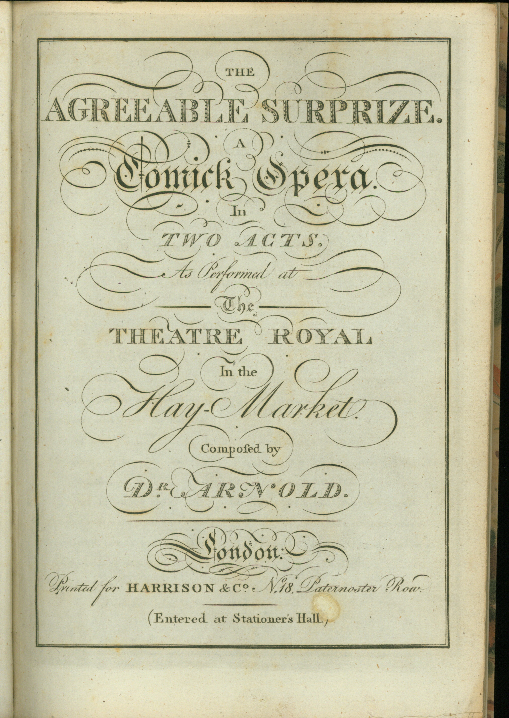 Arnold, Samuel - The Agreeable Surprize. A Comick Opera In Two Acts. As Performed At The... - (4197)