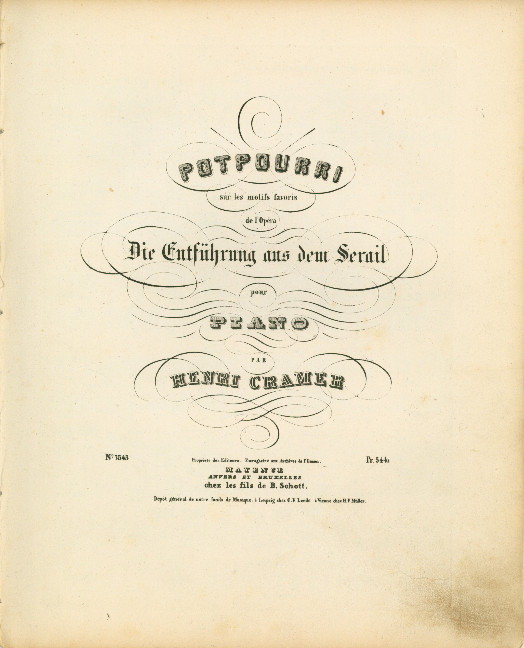 "Cramer, Henry - Abduction From The Seraglio, K384, Arranged, ""Potpourri Sur Les Motifs Favoris... - (4003)"