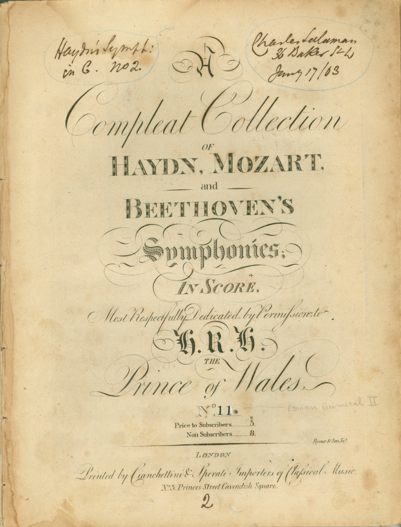 Haydn, Franz Joseph - A Compleat Collection Of Haydn, Mozart And Beethoven's Symphonies... - (4620)