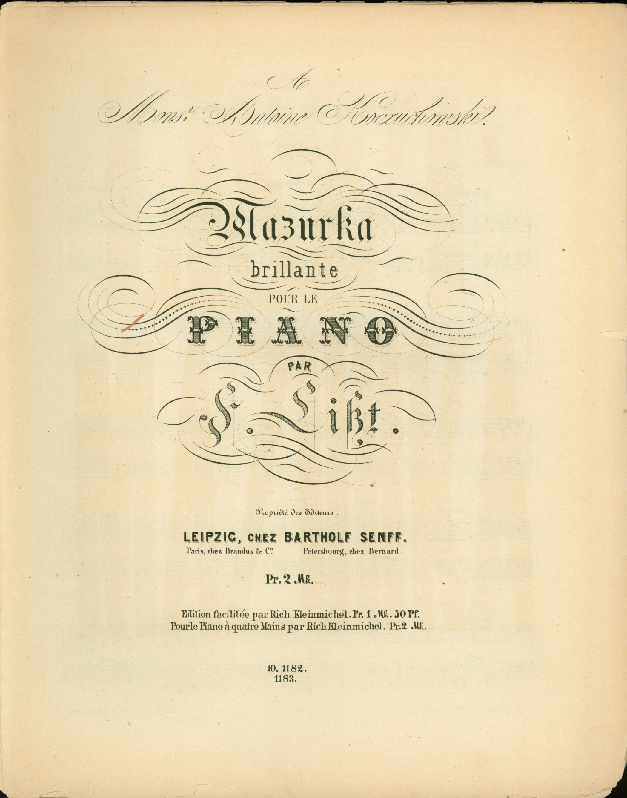 Liszt, Franz - Mazurka Brilliante Pour Le Piano Par F. Liszt. For Piano Four Hands. - (3241)