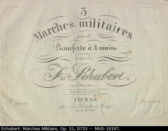 "Schubert, Franz - Three Military Marches For Piano Four Hands, Op. 51, D733, ""3 Marches... - (1174)"