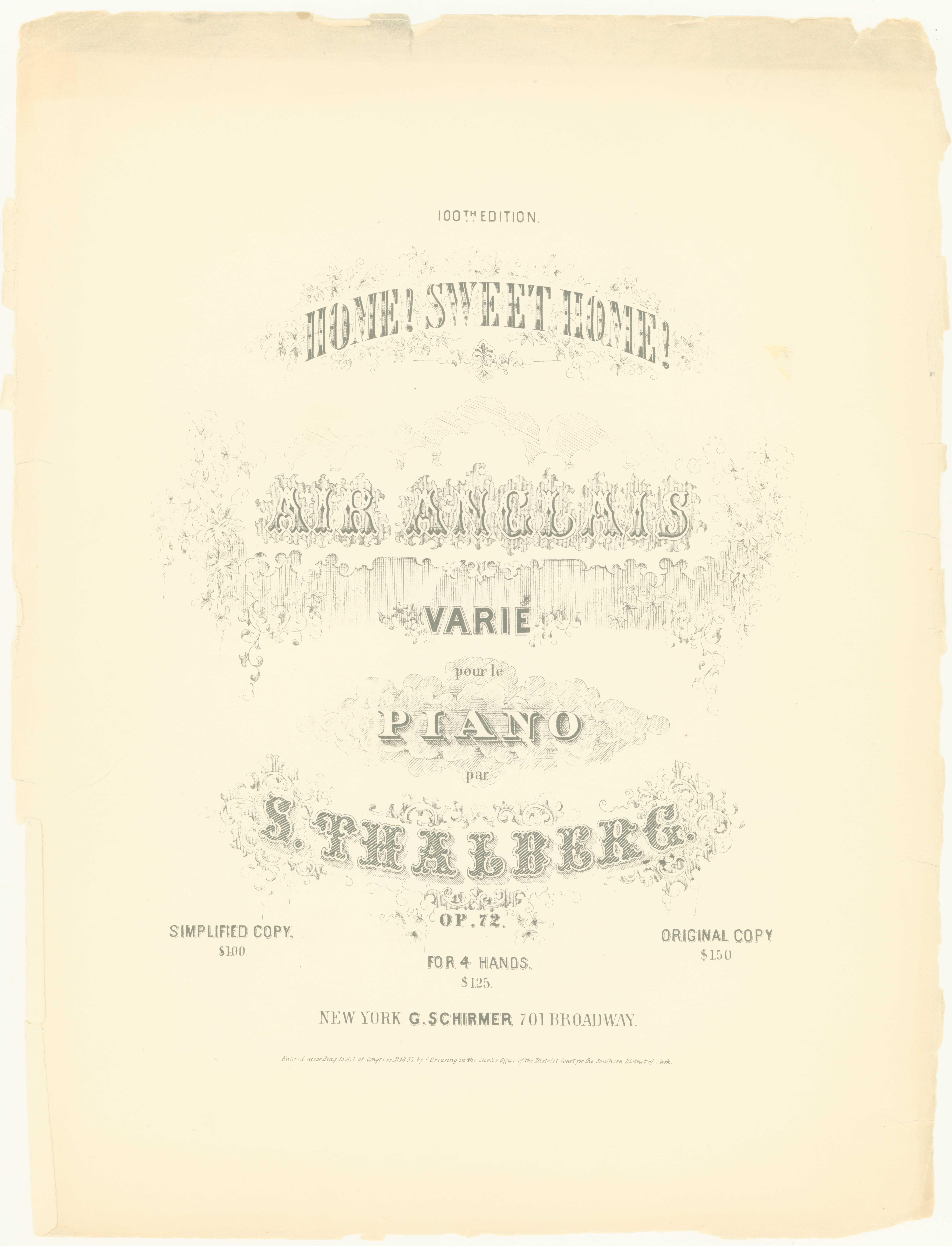 Thalberg, Sigismond - Home! Sweet Home!, Air Anglais Varié Pour Le Piano, Op. 72. 100th Edition. - (6754)