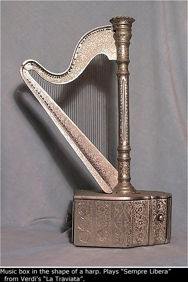 Music Box In The Shape Of A Harp - (755)