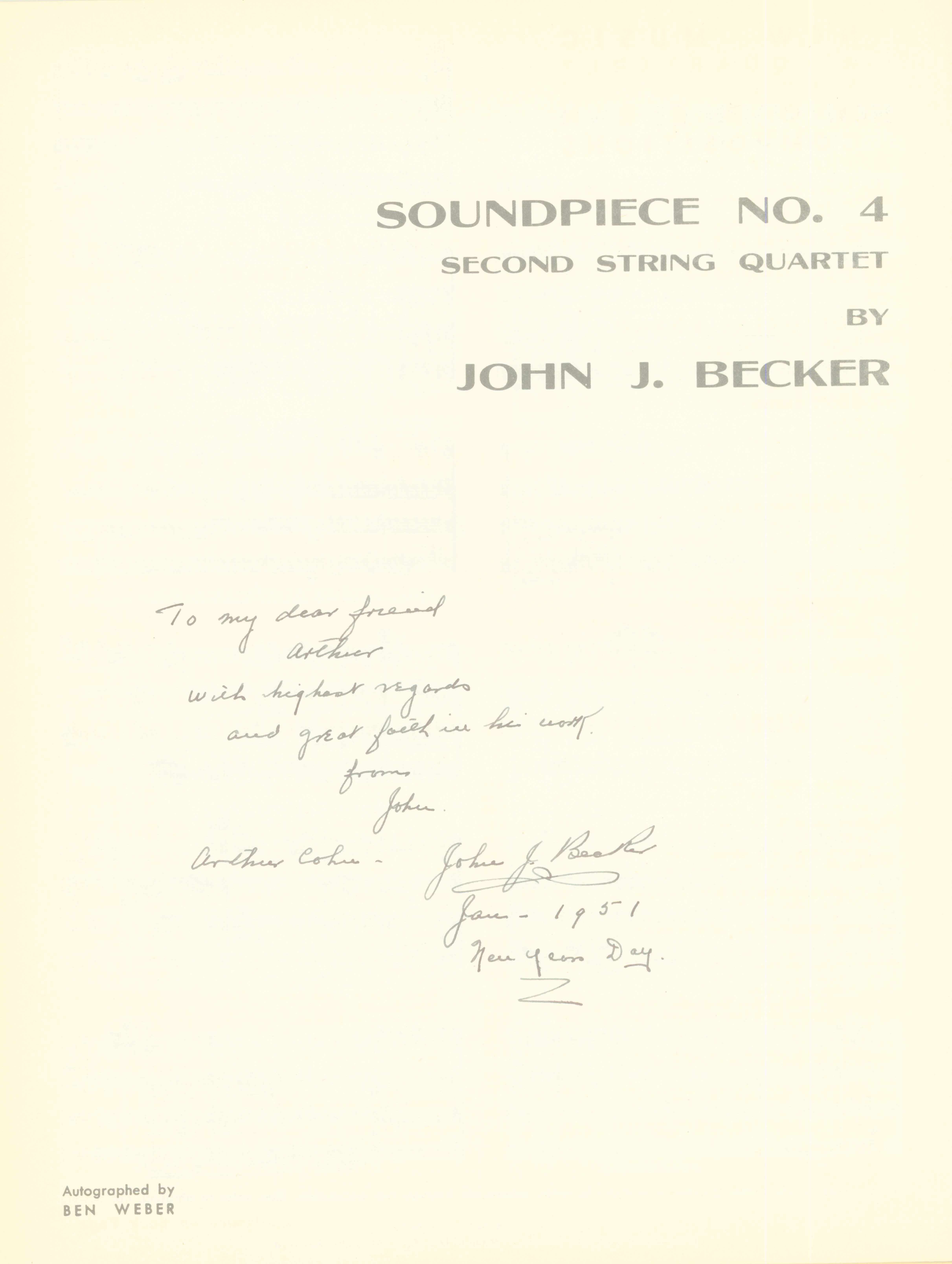 Becker, John J. - Soundpiece No. 4. Second String Quartet. - (7419)