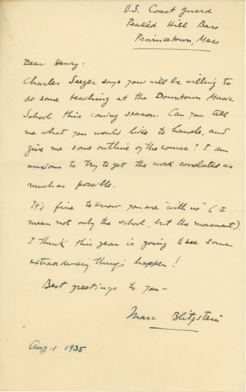 Blitzstein, Marc - Autograph Letter To Henry Cowell - (4213)