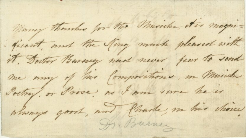 Burney, Charles - Autograph Letter Signed - (6831)