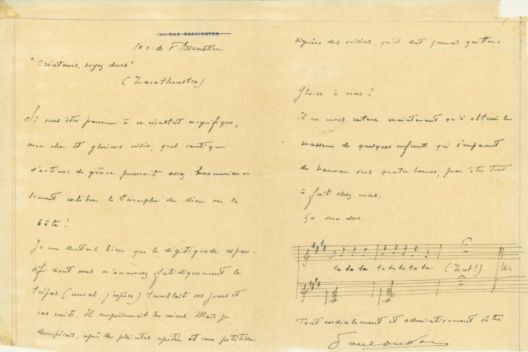 Dukas, Paul - Autograph Letter With Musical Quotation Signed - (5749)