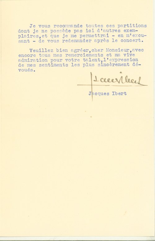 Ibert, Jacques - Typed Letter Signed - (5996)