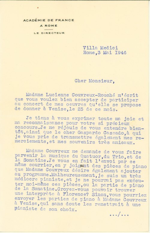 Ibert, Jacques - Typed Letter Signed - (5997)