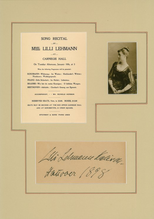 Lehmann, Lilli - Ensemble With Signature, Photo & Recital Program. - (2284)