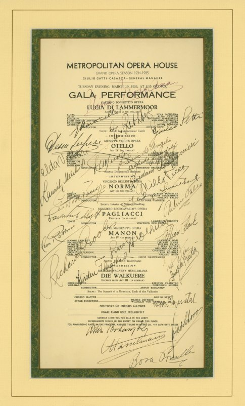 Metropolitan Opera Signed 1935 Program Of Gatti-casazza Gala - An Extraordinary Memento... - (2395)