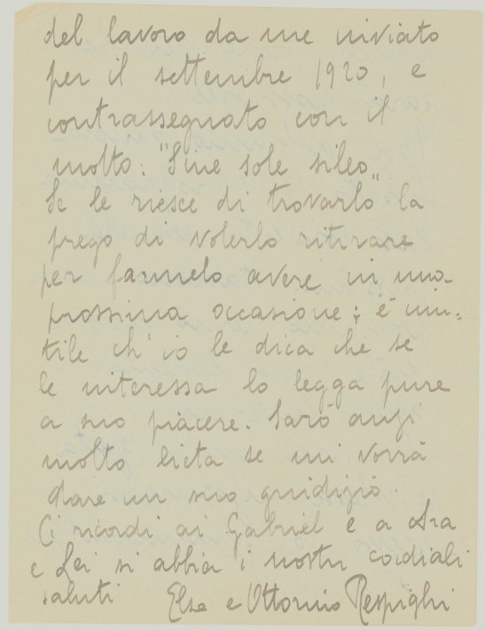Respighi, Elsa - Letter By Ottorino Respighi's Wife Signed - (6605)