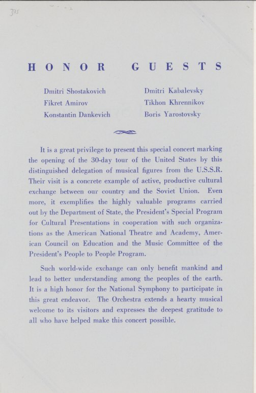 Shostakovich, Dmitri - Signed Concert Program. - (1888)