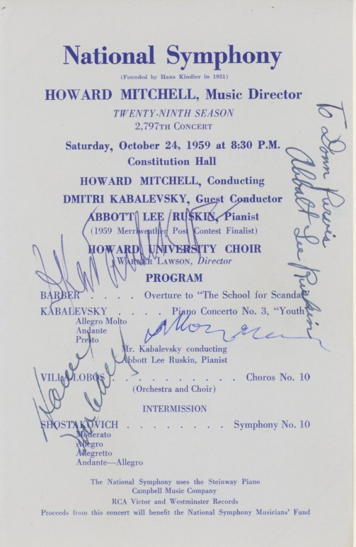 Shostakovich Dmitri  Signed Concert Program