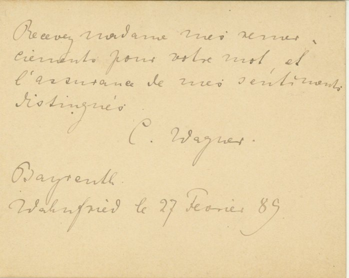 Wagner, Cosima Liszt - Autograph Letter Signed - (4202)
