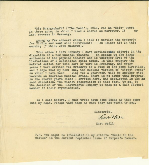Weill, Kurt - Typed Letter Signed - (6018)