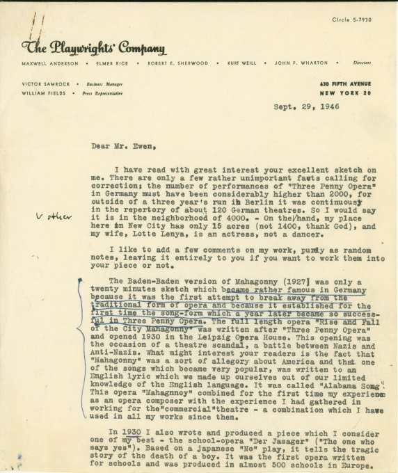 Weill, Kurt - Typed Letter Signed - (6017)