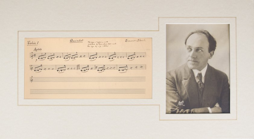Bloch, Ernest - Autograph Musical Quotation, Matted With Original Contemporary Photograph - (4955)