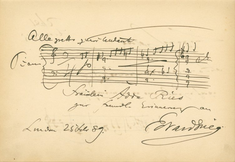 Grieg And Joachim Autograph Musical Quotations - Keith Prowse & Company - (5919)
