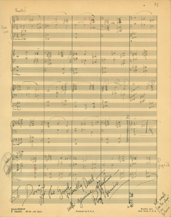 Harris, Roy - Autograph Manuscript Page Signed - (5824)