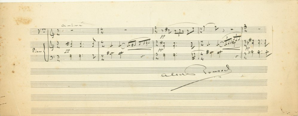 Roussel, Albert - Autograph Musical Quotation & Letter, Both Signed - (5929)