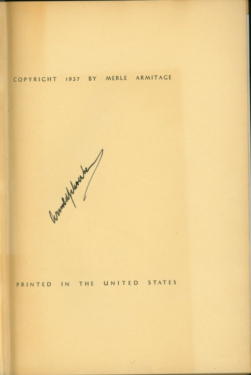 Schoenberg - Signed Merle Armitage Book - Schoenberg: Articles By Arnold Schoenberg... - (5105)