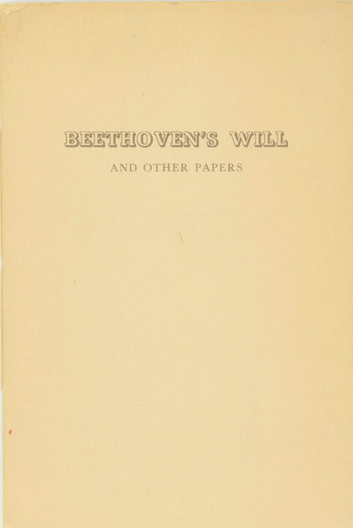 Beethoven, Ludwig Van - Beethoven's Will And Other Papers. - (6972)