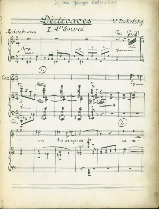 Duke, Vernon - Score Inscribed To Balanchine - Duke [Vladimir Dukelsky], Vernon - (4797)