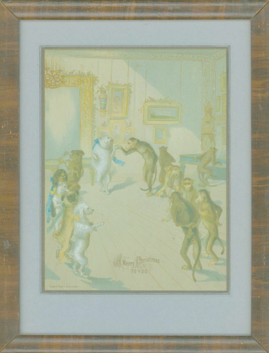 Christmas - Dogs & Monkeys Dance - Framed Print. - (6997)