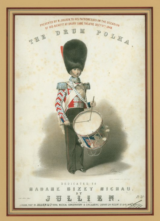 "Drum, Military - Sheet Music Cover - ""The Drum Polka"". - (5306)"