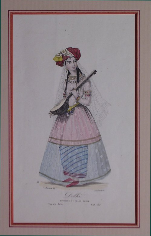 Indian Girl Playing A Lute - (983)