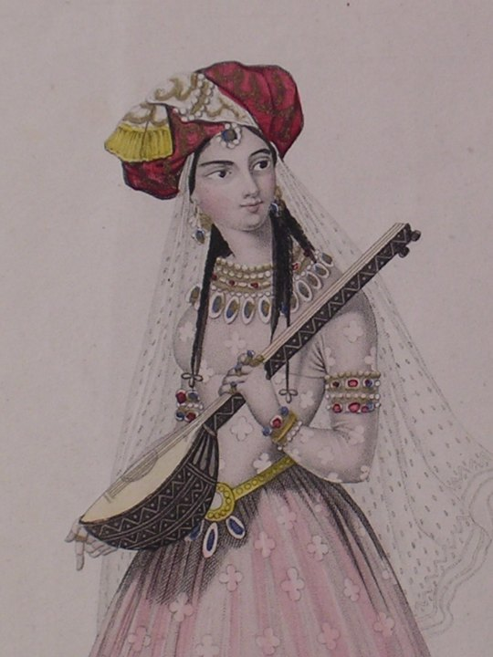 Indian Girl Playing A Lute - (982)