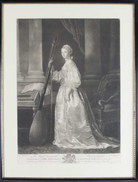 Theorbo - Mezzotint Portrait - Mezzotint Portrait Of Lady Mary Campbell. - (3736)
