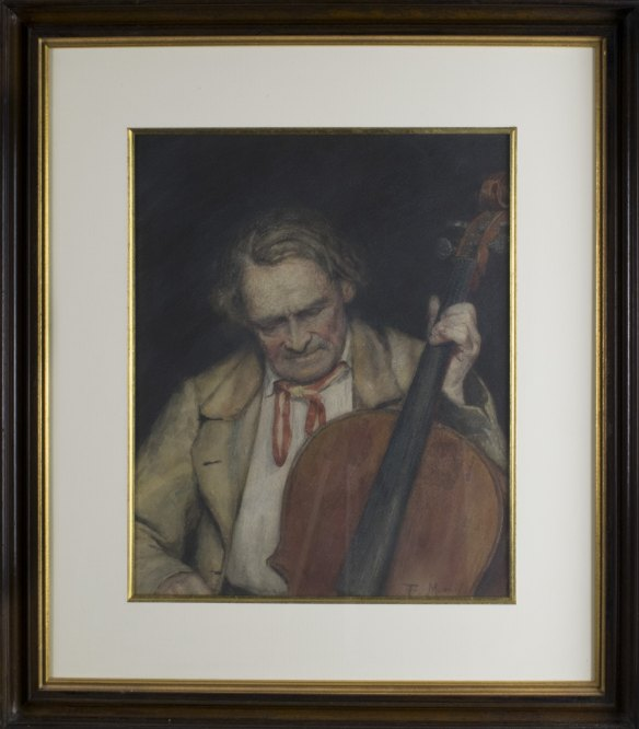 Cello -  Portrait Of Man With Cello - A Fine American Watercolor. - (3737)