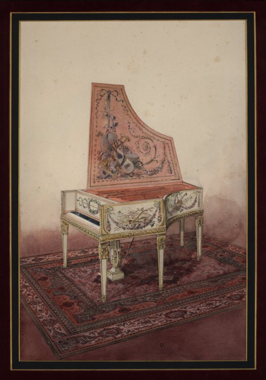 Pianoforte  Watercolor - Original Watercolor Of Pianoforte. - (3711)