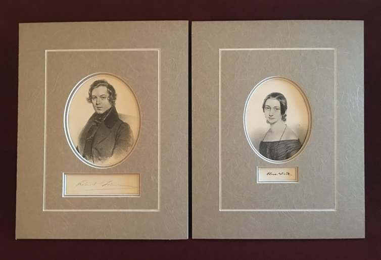 Schumann -  Pair Of Portraits - Matted Portraits Of Robert And Clara Schumann. - (6996)