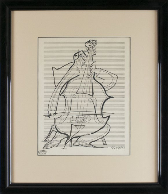 Steinberg, Saul - Original Drawing Of A Cellist. - (3890)